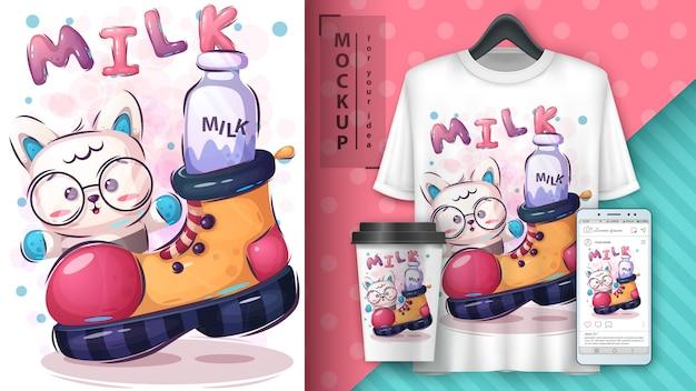 Słodki plakat z kotkiem i merchandising