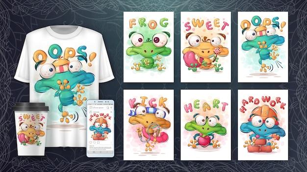 Słodki plakat z żabą i merchandising