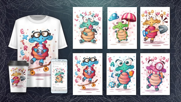 Słodki plakat z żółwiem i merchandising