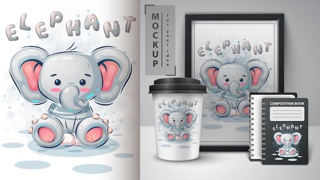 Słodki plakat ze słoniem i merchandising