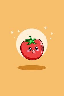 Słodki pomidor w ilustracja kreskówka światowego dnia wegetariańskiego