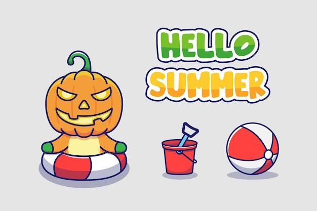 Słodki potwór z dyni z powitaniem na lato