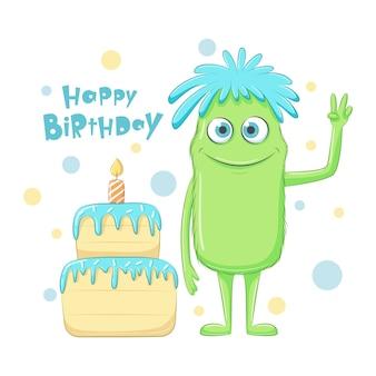"""Słodki potwór z frazą """"happy birthday"""" i ciastem"""