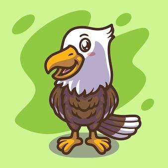 Słodki projekt ilustracji maskotki orła