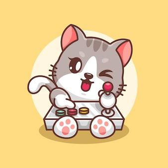 Słodki projekt kreskówek dla kotów