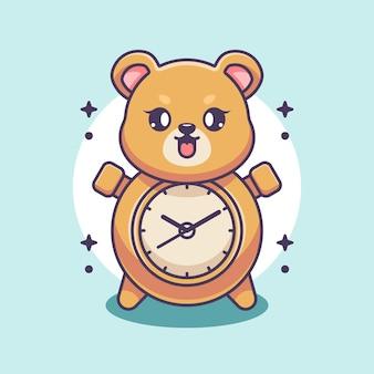 Słodki projekt kreskówki niedźwiedzia zegara