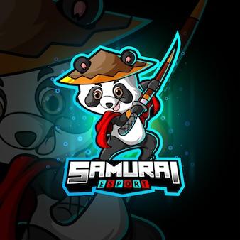 Słodki projekt logo e-sportowej pandy samurajskiej z ilustracji