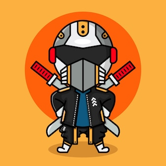 Słodki projekt postaci cyberpunk ninja chibi