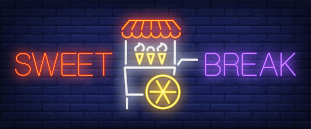 Słodki przerwie neon tekst z koszyka lodów