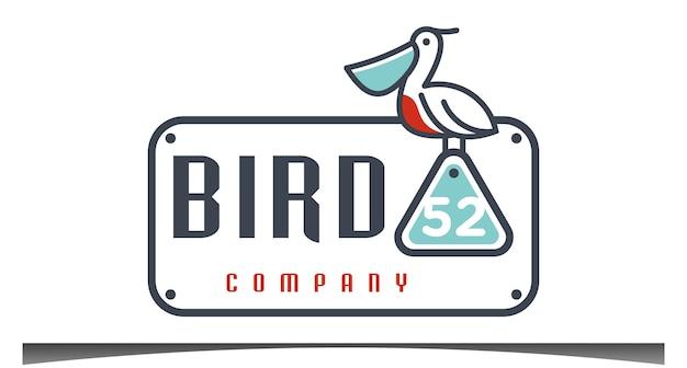 Słodki ptak z logo linii sztuki