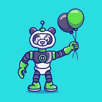 Słodki robot panda trzymający balon