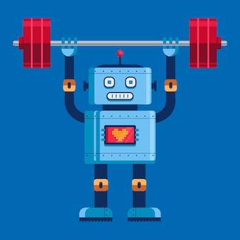 Słodki robot podnosi sztangę w pełnym wzroście. ładny charakter ilustracji wektorowych