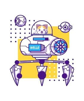 Słodki robot z ilustracją postaci z kreskówek kota