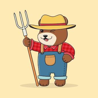 Słodki rolnik niedźwiedź z kapeluszem