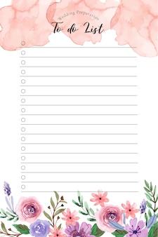 Słodki różowy i niebieski kwiatowy akwarela ślub szablon listy rzeczy do zrobienia