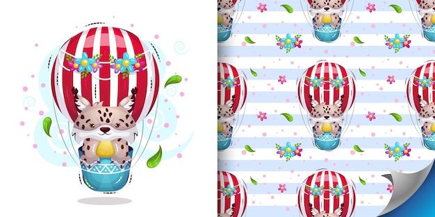 Słodki ryś leci balonem na ogrzane powietrze