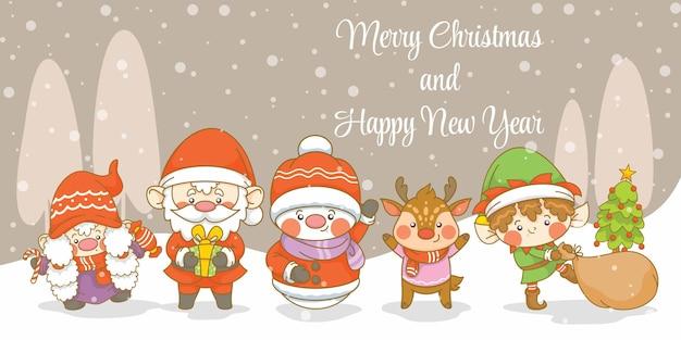 Słodki santa gnome elf bałwan i jeleń z banerem powitalnym świąt i nowego roku