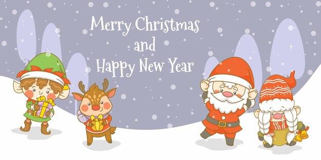 Słodki santa gnome elf i jeleń z banerem powitalnym bożego narodzenia i nowego roku