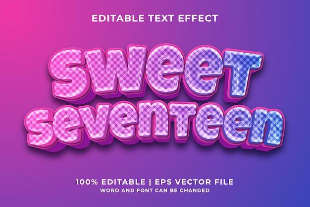 Słodki siedemnaście edytowalny efekt tekstowy 3d premium wektorów