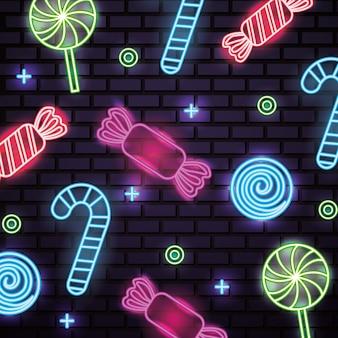 Słodki słodycze neon wzór