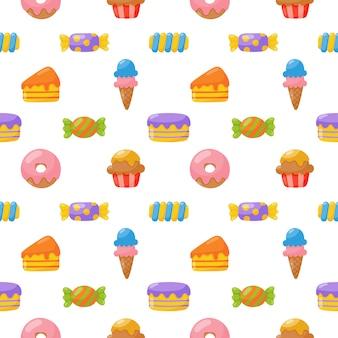 Słodki słodycze wzór. słodycze desery na białym tle