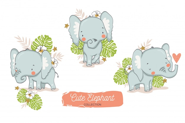 Słodki słoń dziecka. postać z kreskówki zwierząt dżungli.