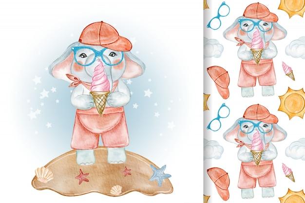 Słodki słoń jedzenie lodów ilustracja akwarela i wzór