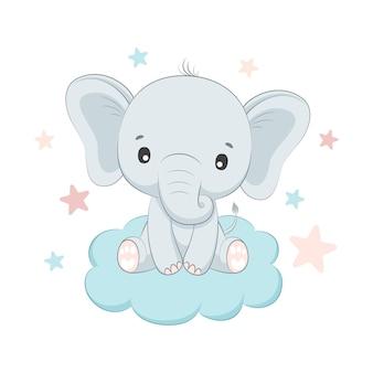Słodki słoń, który siedzi na chmurze.