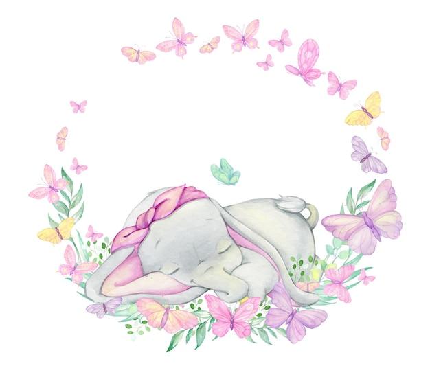 Słodki słoń, otoczony motylami i roślinami, śpi.