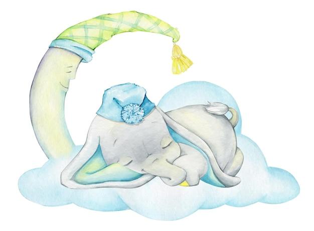 Słodki słoń, śpiący, na tle księżyca i chmur.