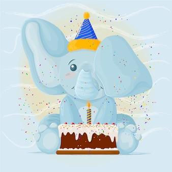 Słodki słoń urodzinowy