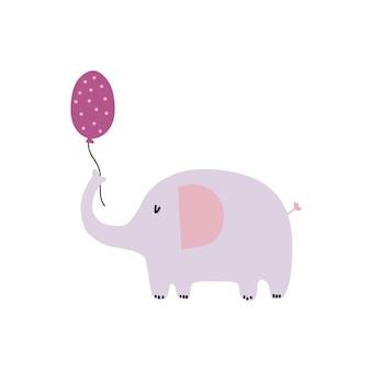 Słodki słoń w skandynawskim stylu płaskiej ilustracji