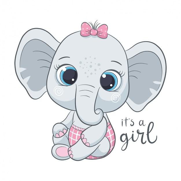 """Słodki słoń z frazą """"it's a girl"""""""