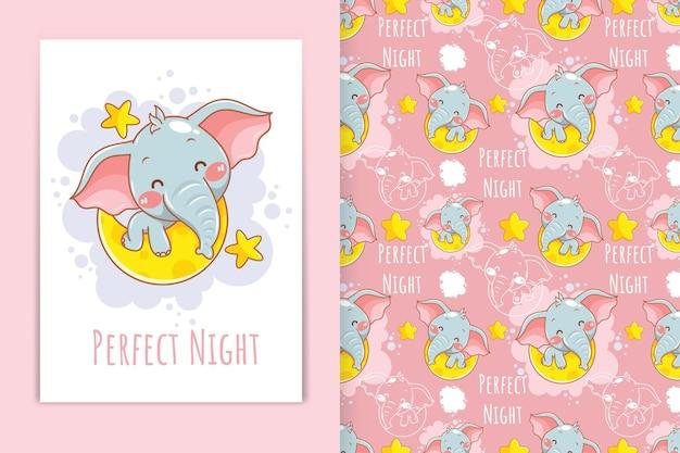 Słodki słoń z księżycem i małą gwiazdą z ilustracją kreskówkową i zestawem bez szwu