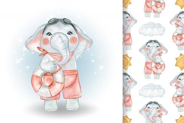 Słodki słoń z pływacką boją akwarela ilustracja i wzór