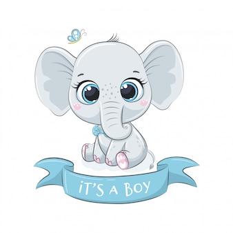 """Słodki słonik z frazą """"to chłopiec"""""""