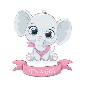 """Słodki słonik z frazą """"to dziewczynka"""""""