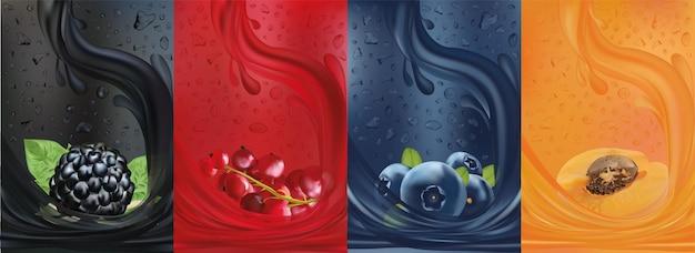 Słodki sok multiwitaminowy, jagoda, morela, jagoda czerwonej porzeczki, jeżyna z plamami w płynie i kropla soku.