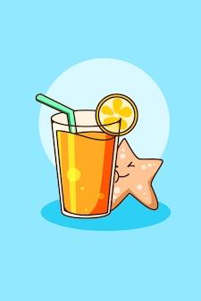 Słodki sok pomarańczowy z ilustracją kreskówki rozgwiazdy