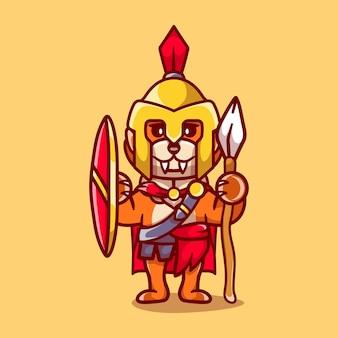 Słodki spartański gladiator lisa z tarczą i włócznią