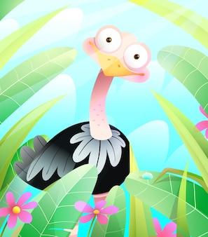 Słodki struś w zielonej przyrodzie, otoczony liśćmi i trawą. zabawny ciekawy ptak strusia dla dzieci, ilustracji wektorowych w stylu przypominającym akwarele.