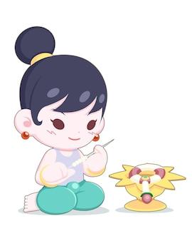 Słodki styl kreskówki tajska mała dziewczynka uważnie robi girlandę z kwiatów, taca jest umieszczona przed jej ilustracją