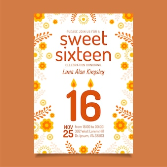 Słodki styl zaproszenia urodzinowe szesnaście