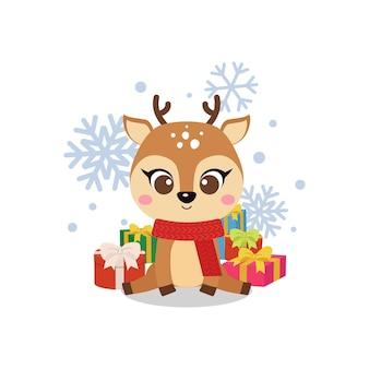 Słodki świąteczny renifer ze stosem prezentów