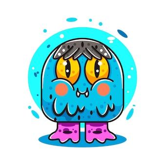 Słodki szczęśliwy potwór do ilustracji naklejki z logo ikon