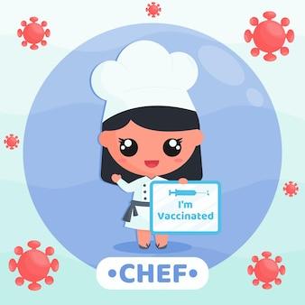 Słodki szef kuchni robi kampanię szczepień, aby zapobiec wirusowi z trzymaniem koncepcji postaci z kreskówek z banerem