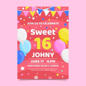 Słodki szesnaście urodziny zaproszenie gtemplate