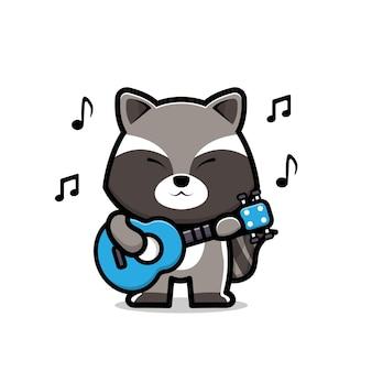 Słodki szop grający na gitarze