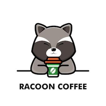 Słodki szop pracz napój filiżanka kawy kreskówka zwierzę logo ilustracja kawa