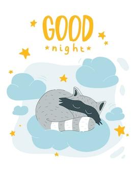 Słodki szop pracz śpiący na chmurze plakat dla dzieci w stylu skandynawskim